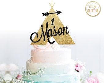 Wild One cake topper, Teepee topper, Name cake topper, personalised cake topper, gold glitter cake topper, first birthday topper,cake