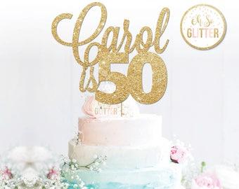50th Cake Topper50 Name TopperName Toppercustom Topperpersonalised Topperglitter Toppercustomised Topper
