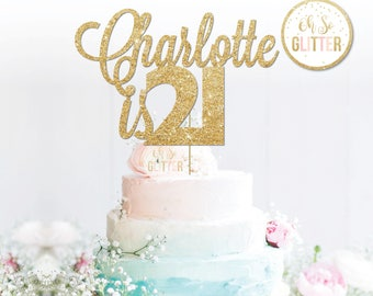 21st Cake Topper 21 Name Custom Topperpersonalised Gold Customised