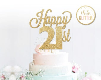 Happy 21st Cake Topper Anniversary Birthday Gold Glitter Custom Personalised 18 21 30 40 Any Number Colour