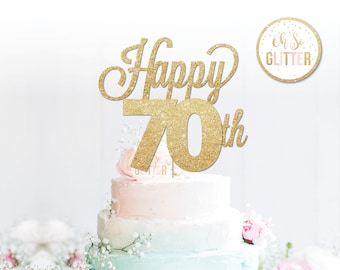 Happy 70th Cake Topper Anniversary Birthday Gold Glitter Custom Personalised 16 21 30 40 Any Number Colour