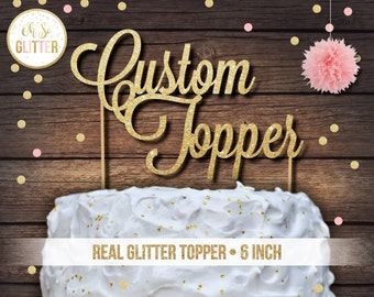 Name Cake Topper Custom Large Personalised Gold First Birthday Wedding
