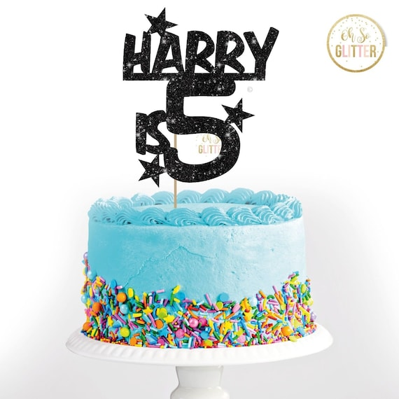 Fine Harry Is 5 Birthday Black Cake Topper Glitter Cake Topper Etsy Funny Birthday Cards Online Aboleapandamsfinfo
