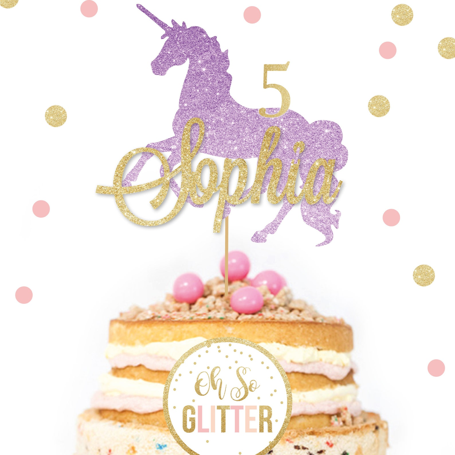 Personalized Unicorn Glitter Cake Picks