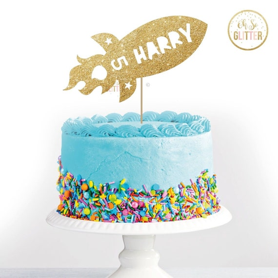 Stupendous Harry 5 Rocket Birthday Gold Cake Topper Glitter Cake Etsy Funny Birthday Cards Online Alyptdamsfinfo