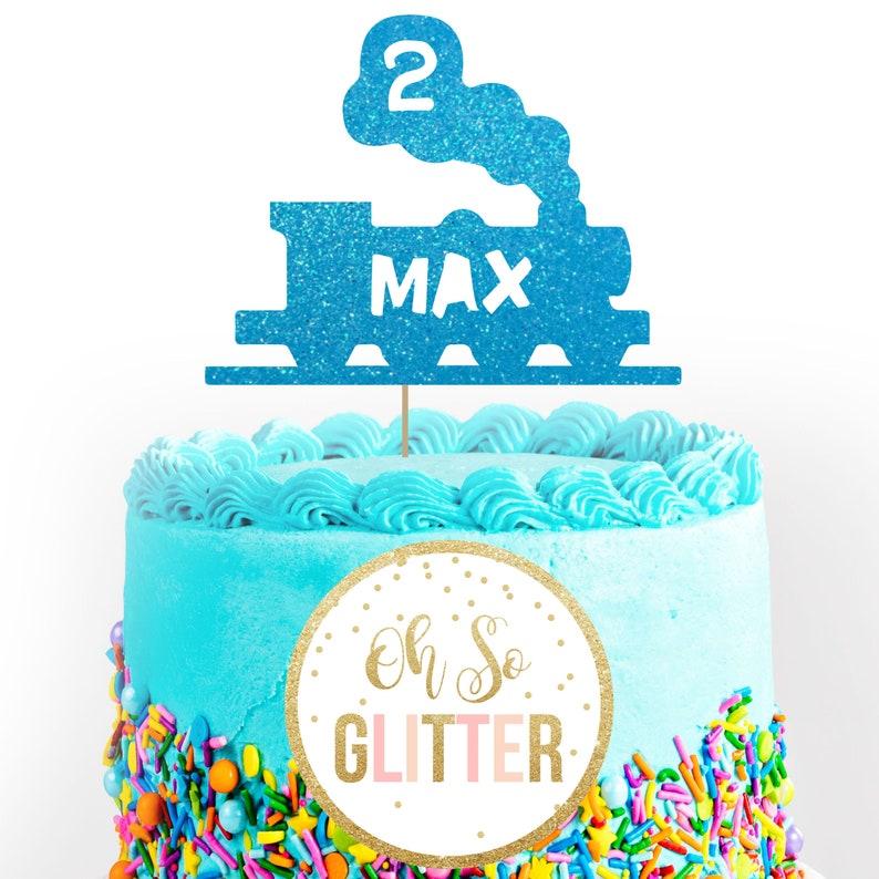 Train Cake Topper Party Birthday Glitter