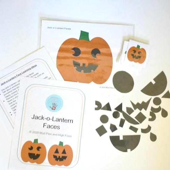 Jack-O-Lantern Faces Digital Preschool Kindergarten Early