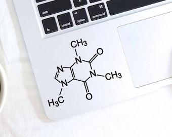 Caffeine Molecule decal, Caffeine Molecule sticker for macbook, laptop, car, notebook, tablet, ipad