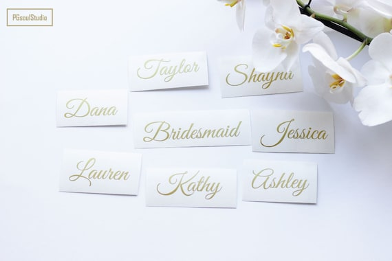 Custom Name Stickers Glitter Rose Gold Wedding Party Sticker Etsy