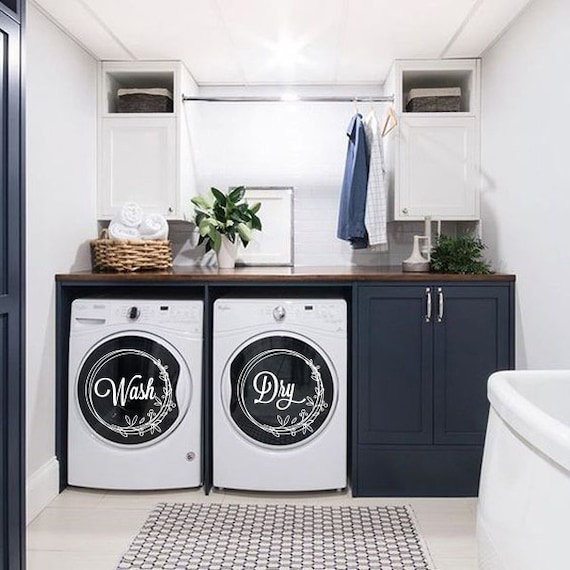 Dryer machine Decal Washing machine Decal Wash and Dry decals Laundry Organizer Set of 2 decals Laundry Room Decals