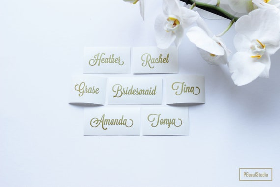 Custom Name Sticker Rose Gold Wedding Party Sticker Wedding Etsy