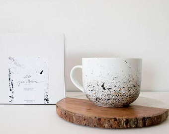 Coffee Mugs, Latte Mug, Hand Painted, Ceramic, Mug for her, Paint Splatter, Minimal, Big Mug, Unique Coffee Mug, Big Ceramic Mug