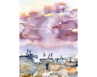 Urban Sunset Original Watercolor Painting
