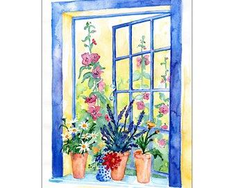 The Blue Window Hampstead London Original Watercolor Painting