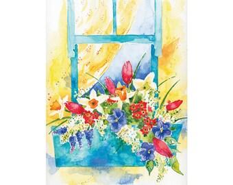 Window Garden London Original Watercolor Painting