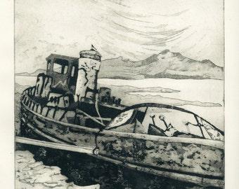 Stranded Ring of Beara Ireland Aquatint Etching Original Handpulled Print