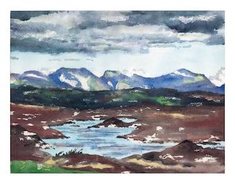 Connemara Earth and Sky Ireland Original Watercolor Painting