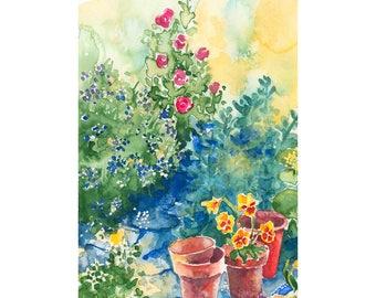 Garden Path Original Watercolor Painting