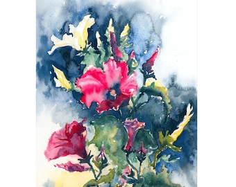 Morning Glory Pink and Yellow Original Watercolor Painting