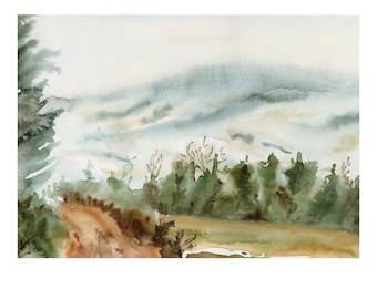 A Winter Walk Original Watercolor Painting