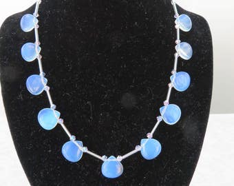 Opalite and pale blue/lavender crystal necklace