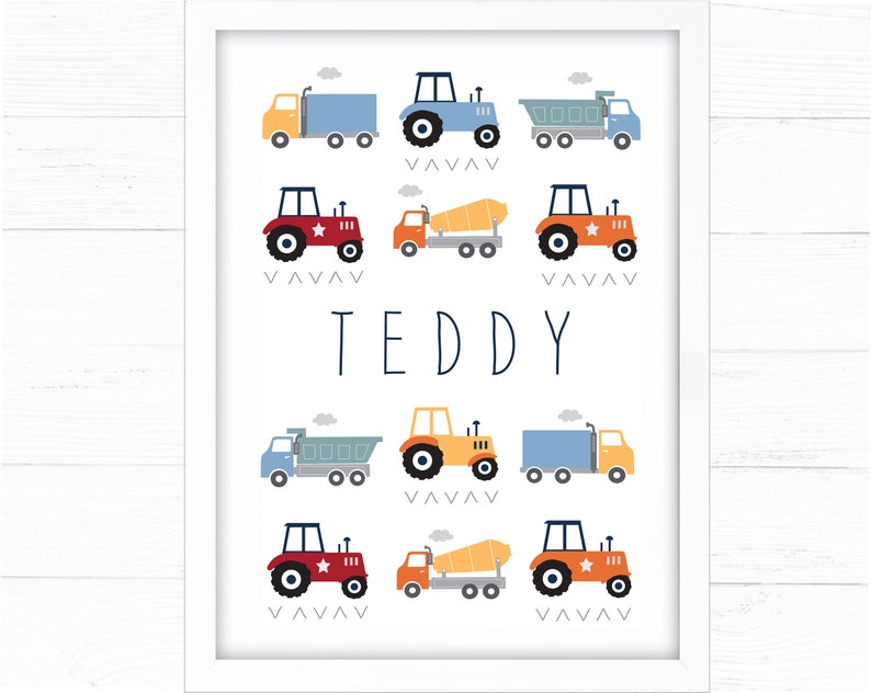 Boys Room Decor Personalised Trucks and Tractors Print  Nursery Decor, Room  Wall Art, Construction, Toddler, Lorries, Transport Theme
