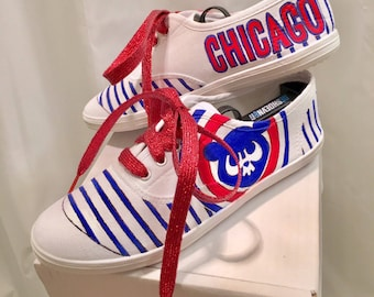 Cubs baseball painted shoes