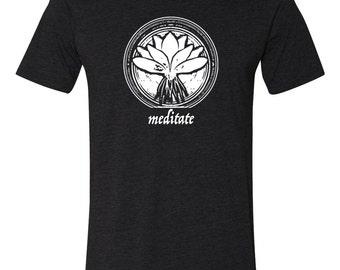 ZenYoga Shirt - Yoga top - Meditation Shirt - Workout Shirt - Exercise Fitness Shirt - Tees - Zen Clothing -  Meditate - White on Black