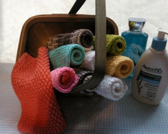 Hand-Knitted Wash Cloths -- Seed Stitch -- Mix-N-Match
