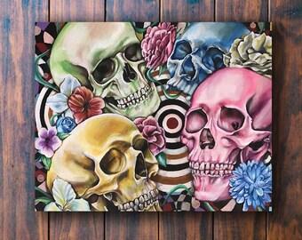 Rainbow Skulls- (signed by artist) Skull Wall Art, Skull Decor, Sugar Skull Decor, Skull Art Print, Skull Illustration, Sugar Skull,
