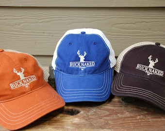 Embroidered Buck Naked Farm Hat with Soft Mesh Back in Multiple Colors f263b40bf5af