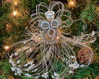 Christmas silver wire Angel table/tree topper