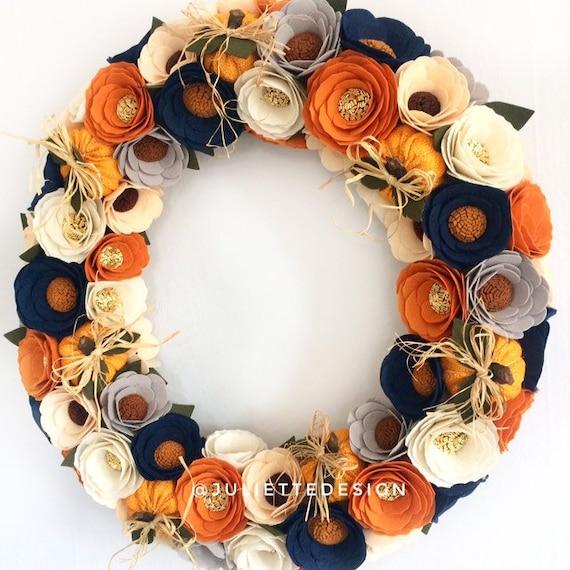 Halloween Wreath Halloween Wreath with Burlap Pumpkins