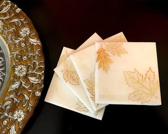 Beautiful hand made Resin coasters, fluid art, resin art, square coasters,Cream and Gold leaves wooden coasters
