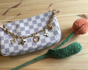 Designer Fashion Purse Charm Luxury Bag Charm Keychain or Planner Luxury Charm for Purse Purse Accessory with Pearl and Designer Charms
