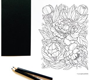 Peony Flower Coloring Page for Adults, PDF Digital Coloring Page, Floral Arrangement, Botanical Printable Coloring Page, Peony Flower Art