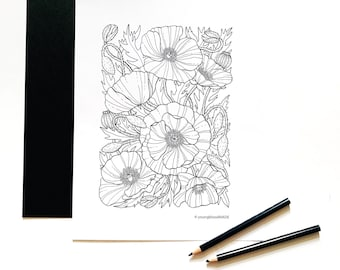 Poppy Flower Coloring Page for Adults, Instant Download Coloring Pages, Adult Coloring Pages, Flora Coloring Pages, Poppies Coloring Sheets