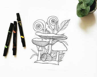 Snail Forest Coloring Page for Adults, Snail Botanical Art Instant Download, Snail Garden Coloring Page