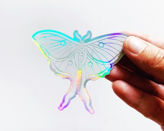 Holographic Luna Moth Sticker, Moth Vinyl Decal Sticker, Moth Laptop Sticker, Moth Water Bottle Sticker
