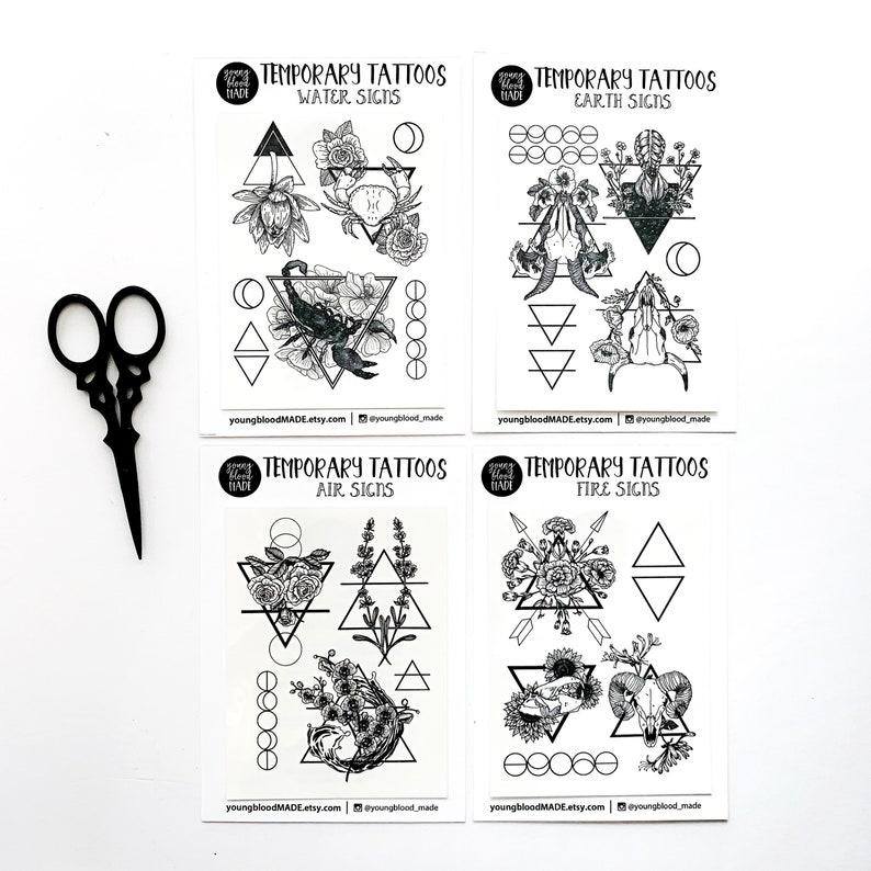 Zodiac Astrology Signs Temporary Tattoos, Earth Signs, Water Signs, Fire  Signs, Air Signs, Temporary Tattoo Zodiac Set, Astrology Sign Gifts