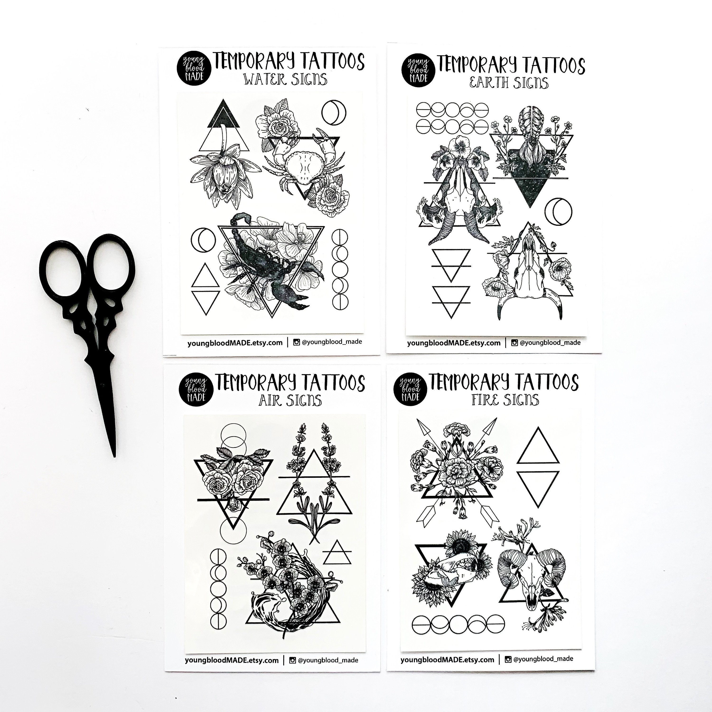 Henna Tattoo Zodiac Signs: Zodiac Astrology Signs Temporary Tattoos Earth Signs Water