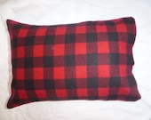 Made to Order - Cotton Flannel Pillowcase - Red, Black Buffalo Check, Squares