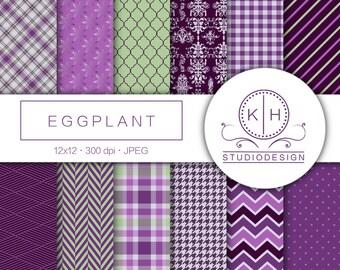Eggplant Digital Paper, Purple and Green Scrapbooking paper, Eggplant Background, Pattern Digital Paper, Purple and Green Scrapbooking Paper