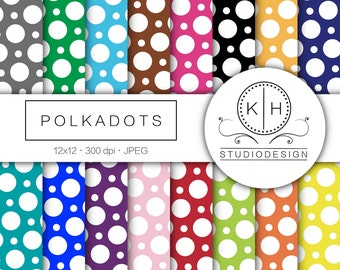 Polka Dots Digital Paper, Polka Dots Scrapbooking paper, Polka Dot Digital Background, Polka Dot Digital Paper, Polka Dot Scrapbooking Paper