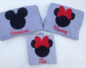 Personalized Matching Family Disney Shirts Mickey Applique Shirt Minnie Applique Shirt Embroidered Disney Vacation Shirts