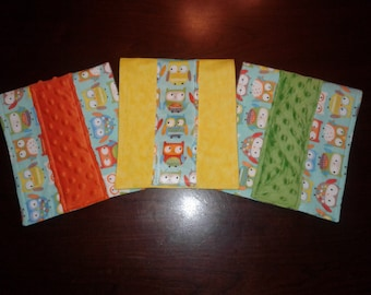 Set of 3 Baby Owls Burp Cloths in Gender Neutral Colors on Snuggle Flannel with Minky Centers