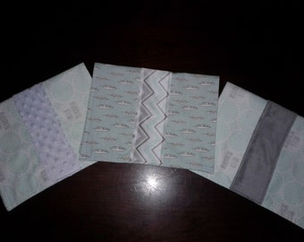 "Set of 3 Baby Girl Burp Cloths with Mint Green & Gray ""Hello Beautiful"" and Feathers"