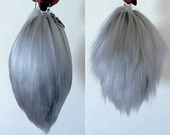 Realistic Silver Extra Fluffy Rabbit / Bunny Yarn Tail