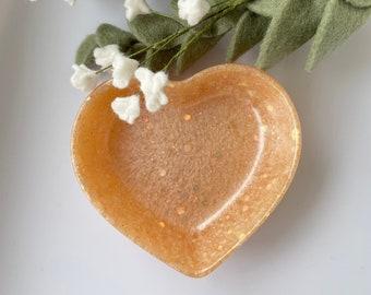 Handmade Heart Trinket Dish, Resin Trinket Dish, Gold Jewellery Dish, Ring Dish