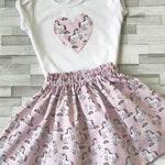 A girls handmade skirt/short T-shirt set, party set, matching skirt and top